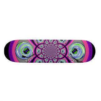 Retro orange pink and green turntable vortex skate deck