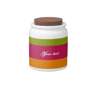 Retro Orange, Pink, Green Stripes Pattern Candy Jars