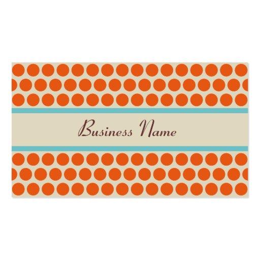 Retro Orange Polka Dots Business Cards