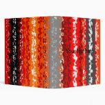 Retro orange red black psychedelic rectangles 3 ring binders