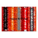 Retro orange red black psychedelic rectangles card