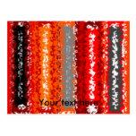Retro orange red black psychedelic rectangles post cards