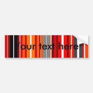 Retro orange red gray and black rectangles car bumper sticker