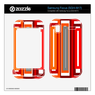 Retro orange red gray and black rectangles decal for samsung focus