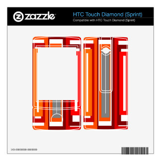 Retro orange red gray and black rectangles HTC touch diamond skins