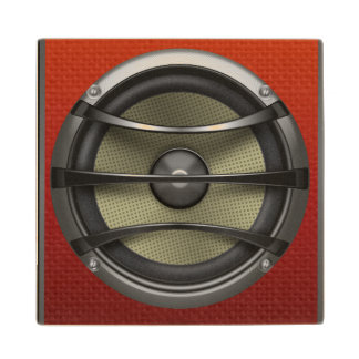 Retro Orange Speaker Look Wooden Coaster