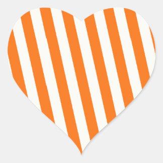 Retro Orange Striped Pattern Heart Sticker
