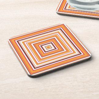 Retro Orange Striped Seamless Abstract Drink Coaster