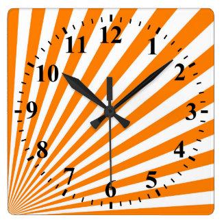 Retro Orange Sun Rays Background Square Wallclocks