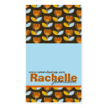 Retro Orange Tulips Pattern 2 Custom Profile Card Double-Sided Standard Business Cards (Pack Of 100)