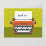 """Retro Orange Typewriter Customizable Postcard<br><div class=""""desc"""">Send some cheer with this bright and happy postcard.</div>"""
