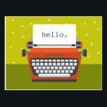 "Retro Orange Typewriter Customizable Postcard<br><div class=""desc"">Send some cheer with this bright and happy postcard.</div>"