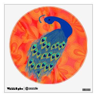 Retro Orange with Peacock Wall Sticker