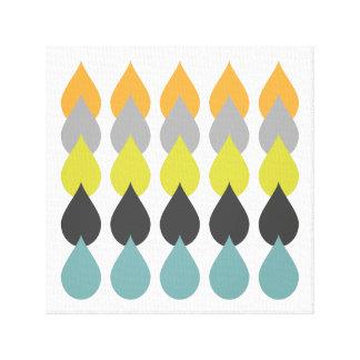 Retro Orange Yellow Aqua Square Canvas Print