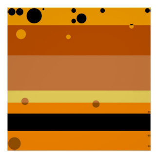 Retro Orange, Yellow, Black, Brown Dots Pattern Poster