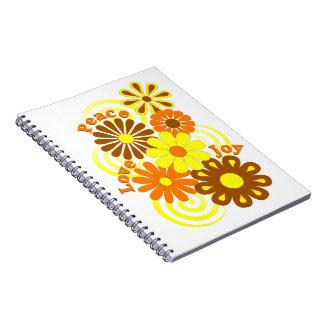 Retro Orange Yellow Floral Peace Love & Joy Notebook