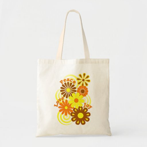 Retro Orange Yellow Floral Peace Love & Joy Totes Tote Bags
