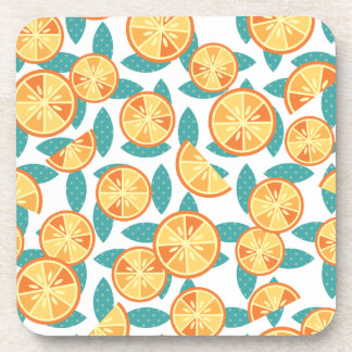 Retro Oranges and Green Leaves Pattern Beverage Coaster