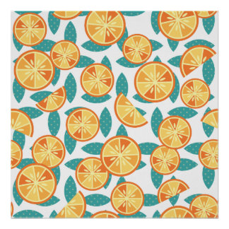 Retro Oranges and Green Leaves Pattern Poster