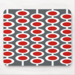Retro Orb Pattern - gray, white & red mousepad
