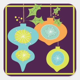 Retro Ornament Happy Holiday Sticker
