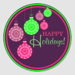 Retro Ornament Happy Holiday Sticker