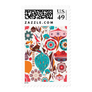 Retro Ornament Postage Stamps