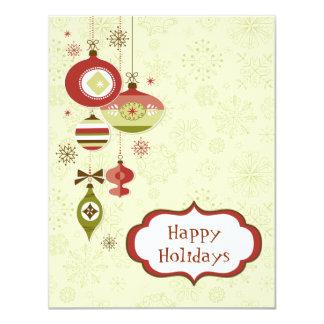Retro Ornaments and Snow - Happy Holidays Card
