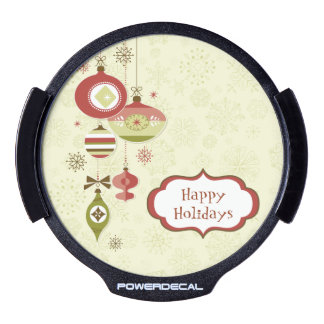 Retro Ornaments and Snow - Happy Holidays LED Car Decal