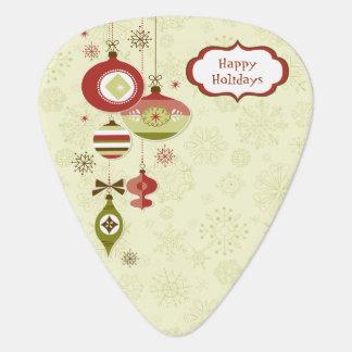 Retro Ornaments and Snow - Happy Holidays Guitar Pick