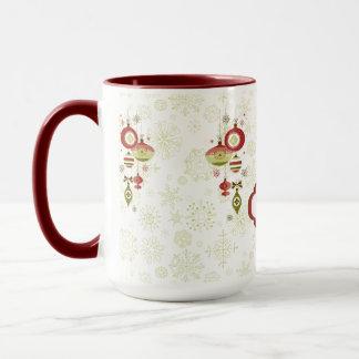 Retro Ornaments and Snow - Happy Holidays Mug