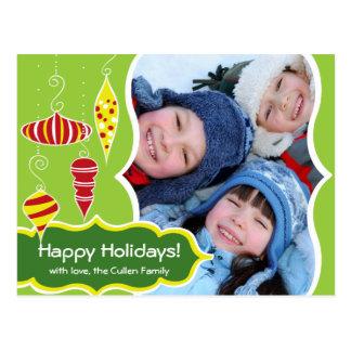 Retro Ornaments Holiday Postcard