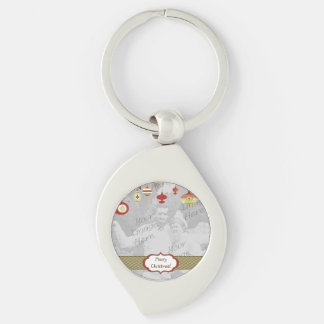 Retro Ornaments Photo Frame Template Silver-Colored Swirl Metal Keychain