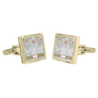 Retro Ornaments Photo Frame Template Gold Finish Cuff Links