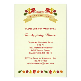 Retro Ornate Thanksgiving Dinner Invitation