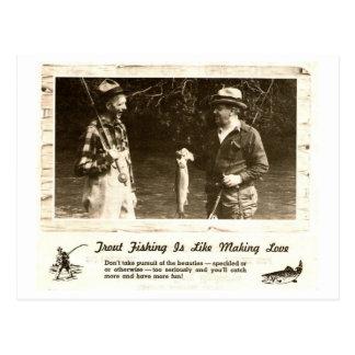Retro Outdoors Man Cave Fishing Help - Postcard