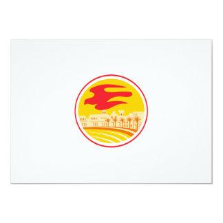 """Retro oval de la silueta del halcón de peregrino invitación 5"""" x 7"""""""