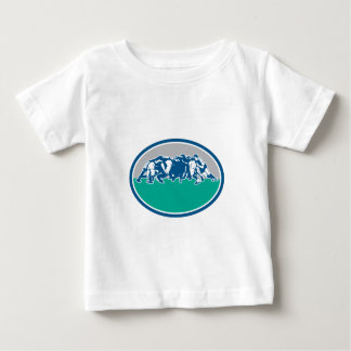Retro oval del melé de la unión del rugbi t-shirt