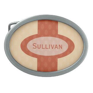 Retro Oval Personalized Belt Buckle - Blush