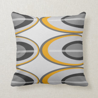 Retro Oval Throw Pillows - Gold, Black and Gray