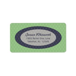 Retro Ovals Address Labels - Moss