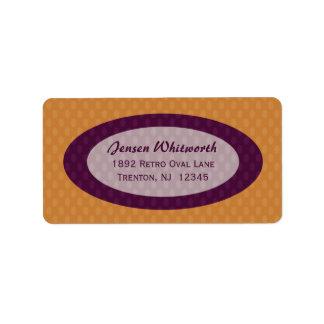 Retro Ovals Address Labels - Tangerine