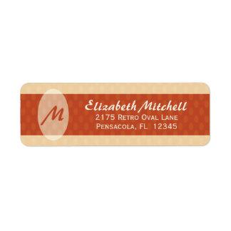 Retro Ovals Monogram Return Address Label - Blush