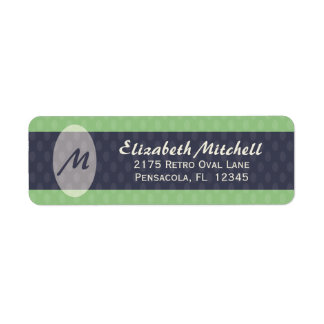 Retro Ovals Monogram Return Address Label - Moss