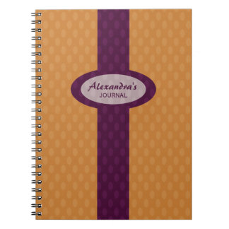 Retro Ovals Personalized Notebook - Tangerine