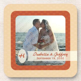 Retro Ovals Photo Coaster Set - Blush