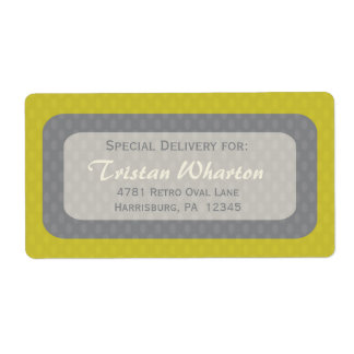 Retro Ovals Shipping Labels - Olive