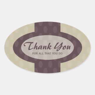 Retro Ovals Thank You Sticker - Ash