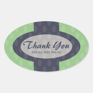 Retro Ovals Thank You Sticker - Moss