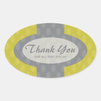 Retro Ovals Thank You Sticker - Olive